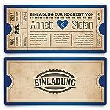 Einladungskarten zur Hochzeit (30 Stück) als Eintrittskarte Vintage Herz Retro Einladung Karte in Blau