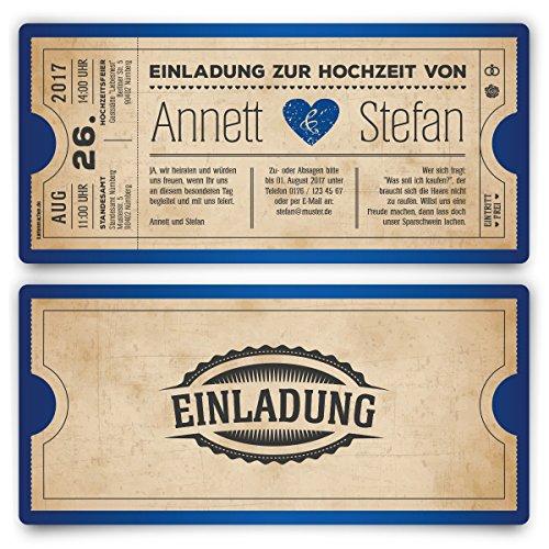 Hochzeit (30 Stück) als Eintrittskarte Vintage Herz Retro Einladung Karte in Blau ()