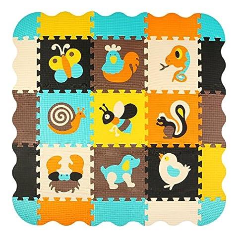 meiqicool Kind Puzzle Play Vorleger bunt Soft ungiftig Puzzle Schaumstoff Boden Fliesen und Spielzeug (30,5x 30,5cm X0. 10,2cm, quadratisch, 9Play Mats mit