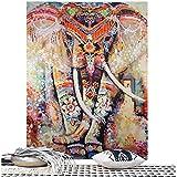Dremisland Mandala Éléphant Tapisserie florale Hippie Mandala Gypsy Bohème Indien traditionnel Mur suspendu Feuille Décoration murale rideau Couvert de table Couverture de pique-nique Jetée de plage (L/200*150cm, Orange)