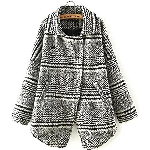 YUYU Invierno de las mujeres de manga larga chaqueta de abrigo de invierno engrosada Escudo de moda de luz de peso a corto , s , black and