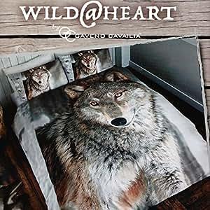 wolf loup housse de couette pour lit double avec housse de couette et taies d 39 oreiller imprim. Black Bedroom Furniture Sets. Home Design Ideas