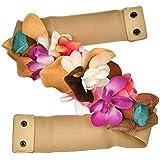 Ulalaza Cinturón nupcial de boda Cinturón de flores elástico ensanchado Cinturón de flores artificiales para mujeres