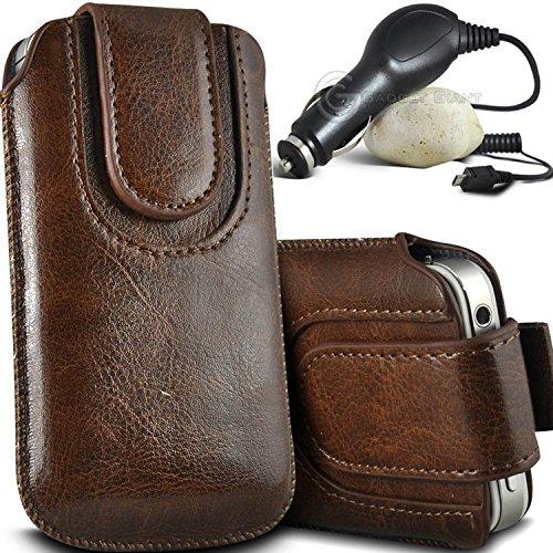 Brun/Brown - Huawei Y300II Housse et étui de protection en cuir PU de qualité supérieure à cordon avec fermeture par bouton magnétique et stylet tactile pour par Gadget Giant® Brun/Brown & Car Charger