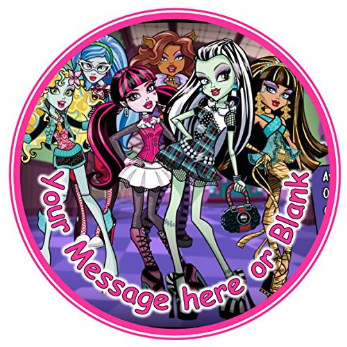 "Image of ND2 Monster High can be Personalised Round Cake Topper approx 7.5"" (or smaller on request) on Icing"
