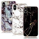 CLM-Tech 3 x Apple iPhone X Hülle, TPU Gummi Case [weich] Marmor Muster schwarz weiß mehrfarbig Schutzhülle für iPhone X Silikonhülle 3er Set [passgenau] [kratzfest] [stoßfest] [schlank] Backcover für iPhone X Handyhülle