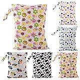 Drawihi, borsa per pannolino da bambini, impermeabile, riutilizzabile, lavabile, dotata di chiusura a cerniera, multicolore