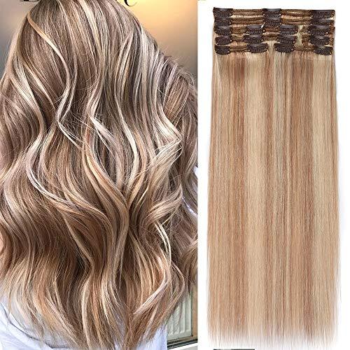 Clip in Extensions Set 100% Remy Echthaar 8 Teilig Haarverlängerung dick Dopplet Tressen Clip-In Hair Extension (35cm-120g,#18/613 Light Aschblond/Weißblond)