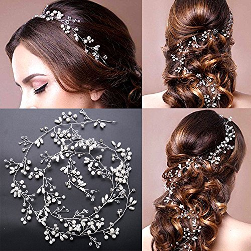 Mode Perle Hochzeit Haar Rebe, Frauen Kristall Stirnband Haarspangen für Braut / 1M Mädchen Haarschmuck Zubehör Tragen Clips Schmuck Kopfschmuck für Brautjungfer