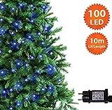 Guirlande Lumineuse 100 LED Bleu Lumières de Noël extérieure et intérieure avec 8 fonctions de mode Alimentation Secteur avec Longueur éclairée 10m/33ft Câble Vert- 2 ans de Garantie