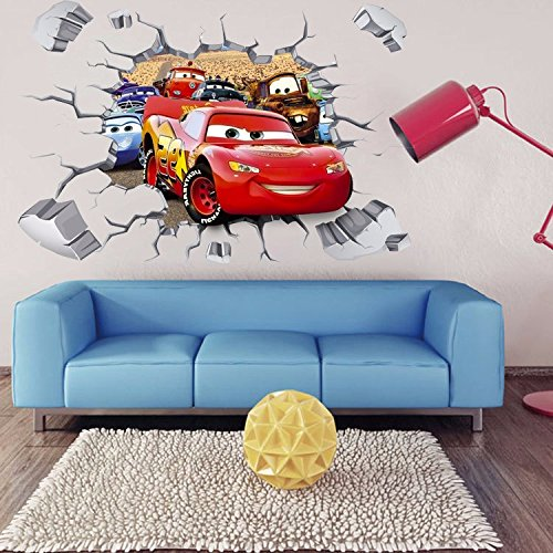 Image of Lightning McQueen 3D Wall Stickers 90*60cm Home Decor Art Cute Kids Nursery Loving Gift home Decoration
