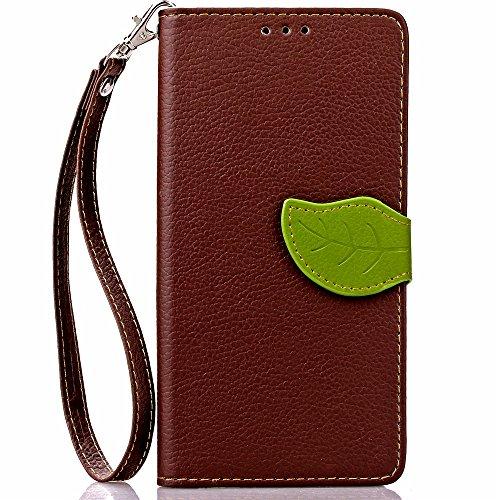 [A4E] Handyhülle passend für LG G5 Kunstleder Tasche, Flip Cover, seitlicher Magnetverschluss, Standfuß, Kreditkartenfächer, Handschlaufe, mit floralem Blatt Muster (braun, grün)