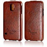 tinxi® Premium PU Kunstleder Tasche für Samsung Galaxy S5 Schutzhülle Flipcase Schale Cover Hülle Tasche Etui Skin UP DOWN in braun