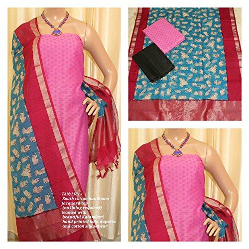 South Cotton Handloom Jacquard Top (no lining required) teamed with beautiful Kalamkari...