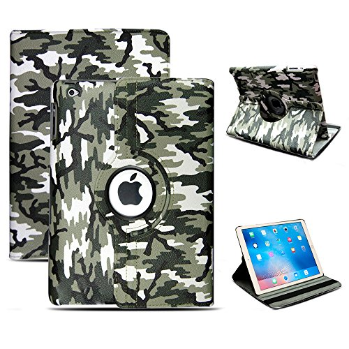 Progadgetsltd nuovo supporto orientabile a 360 gradi di lusso in pelle per Apple iPad Air 2/iPad (Army Camouflage Pattern)
