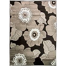 Just Contempo Modern alfombra con diseño de flores, negro, 160x 230cm