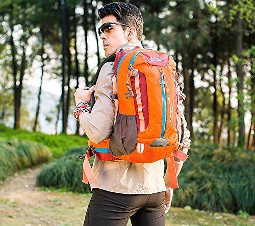 LQABW Outdoor-Nylon Oxford Tuch Wasserdichtes Haltbarer Rucksack-Spielraum-Climbing Leichte Rucksack Breatherdbebensicher Reduzierte Tasche 55L Orange