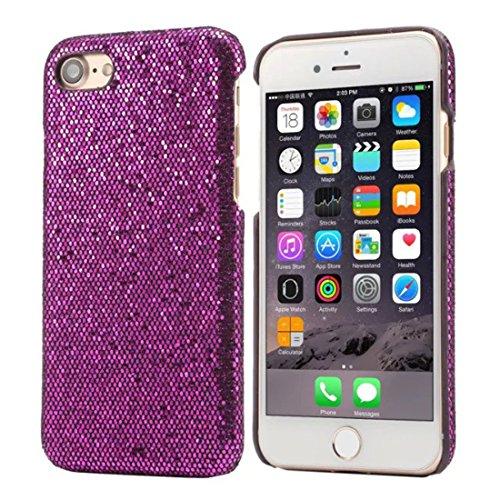 Schutzhülle Apple iPhone 7 4.7 inch Hülle Case - Rosa, Besondere Textur Bunt Serie Verschiedene Farben Dünn Leicht Funkeln Glitzer Luxus Hübsch Schwer Hardcase Cover lila
