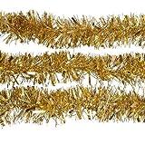 2m (6.5 Ft) Christmas Tinsel Tree Decorations Tinsel Garland (gold)