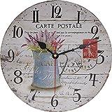 VieVogue Wanduhr, Holz Küchenuhr mit großem Ziffernblatt aus MDF, Retro Uhr im angesagtem Shabby Chic Design mit leisem Quarz-Uhrwerk (Lavendel, 30cm)