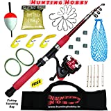 #5: Hunting Hobby Fishing Spinning Rod,Reel,Accessories Complete Combo (Beginners Kit)