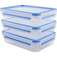 Emsa 515645 Alimentaires Clip & Close, Transparent/Bleu, 1,2 Litres, Lot de 3 Boîtes