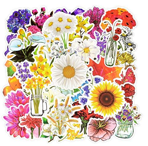 YLGG 50 STÜCKE Blumen Aufkleber Bunte Pflanze Nette Malerei Kreative Aufkleber zu DIY Scrapbooking Laptop Koffer Kühlschrank Gitarre Tasse Auto -