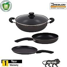 Lifelong Popular Induction Non-Stick Cookware Set, 3-Pieces, Black/Grey