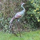 Grüner Pfau Große Elegante Garten Skulptur aus Metall