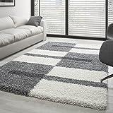Shaggy Rug Long Pile Carpet designe multicolored - Grey-White-Lightgrey, 120x170 cm