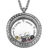 Cutygo Collana con Nome Rotondo Personalizzato Locket Regalo d'Amore per Mamma o Nonna Inciso con Nome e Birthstone