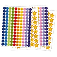 Reusable Extra Reward Stickers for Good Behaviour and Positive Reinforcement - Star Stickers, Reward Stickers: 356 Stickers in total! - 260 Smiley Face Stickers and 96 Gold Star Stickers (A4 size)