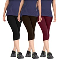 Pixie Capri Leggings | 3/4th | Pants | Combo Pack of 3 for Women/Girls/Ladies (Black, Dark Brown and Maroon) - Free Size