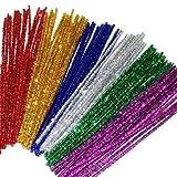 Tubo de Purpurina de limpieza 6mm x 12pulgadas 12colores Colored espumillón Chenille Stems metálico Tubo Limpiador para DIY manualidades, artes, boda, casa, fiesta, decoración de vacaciones (240unidades)