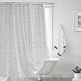 GWELL Welle Duschvorhang Wasserdicht Hochwertige Qualität Anti-Schimmel mit 12 Duschvorhangringe für Badezimmer 240x200cm