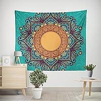 DAYDAY Tapiz Mandala para colgar en la pared, tamaño grande, impresión de lienzo, tapices hippie hippy, colcha de cama, sábana de picnic, toalla de mesa, negro, mandala, tela, Verde, 51.2in X 59.1in----(130cm X 150cm)