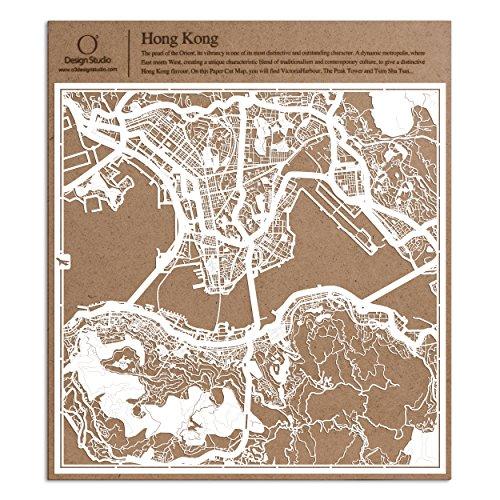 Hongkong Scherenschnitt Karte, Weiß 30x30 cm Papierkunst