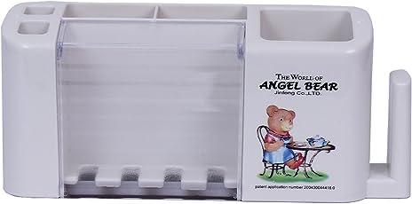 Angel Bear Rectangular Plastic Toothbrush Holder (White)