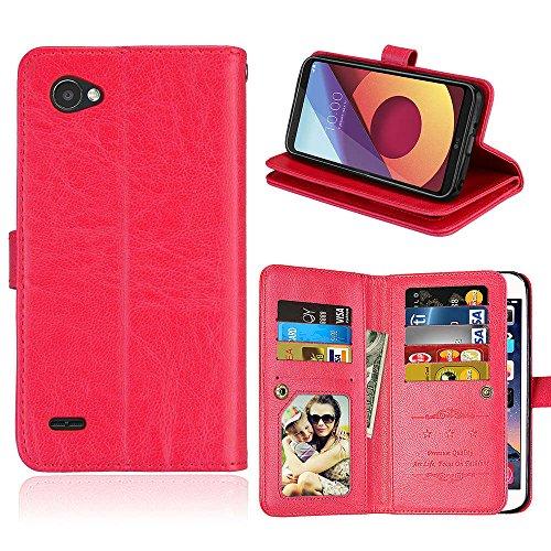 (Wendapai LG Q6 Brieftasche Hülle, LG Q6 Hülle, Prämie Leder Zipper Brieftasche Multifunctional Ausgezeichnet Removable Kartenschlitz Pocket Pouch Flip Schutz Hülle zum LG Q6-Red)