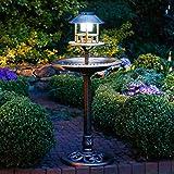 Gärtner Pötschke Vogelbad Vögeli mit Solar-LED-Beleuchtung