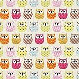 Fabulous Fabrics Baumwollstoff Cretonne Eulen - Creme -