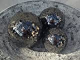 Mosaic Balls - Set of 3 Black Decorative Glass Balls - 8cm, 10cm, 13cm