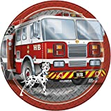 23cm Fire Engine Birthday Party Plates, Pack of 8