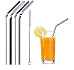 Cairo Stainless Steel Drinking Reusable Straws , with a Straw Cleaning Brush (1 piece, Silver, SS304)