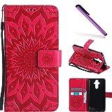 COTDINFOR Huawei Mate 9 Funda Flores Cierre Magnético Billetera con Tapa para Tarjetas de Cárcasa Elegante Retro Suave PU Cuero Caso Protectora Case para Huawei Mate 9 Sunflower Red KT
