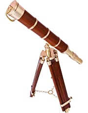 Artshai Antique Style Wooden Telescope with Tripod Stand