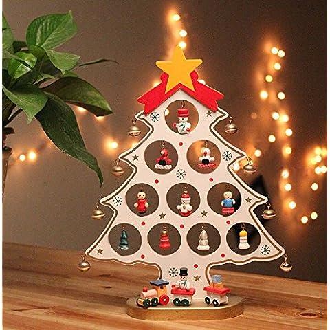 Rubility® 27cm Árbol de Navidad de madera Decoración de escritorio Regalo para Navidad (Blanco)