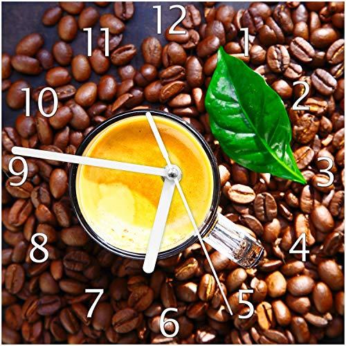 Wallario Glas-Uhr Echtglas Wanduhr Motivuhr; in Premium-Qualität; Größe: 20x20cm; Motiv: Kaffee und Bohnen - Cappuccino Küchenuhr