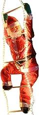 Weihnachtsmann auf Leiter 120/200cm mit LED beleuchtet innen/außen von Gartenpirat®
