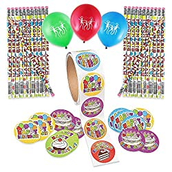Happy Birthday Party Favor Treat Pack with 100 Assorted Birthday Stickers and 24 Wooden Birthday Pencils